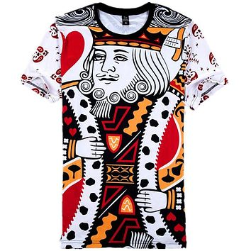 SOSHIRL Funny 3D Poker Face Printed T-Shirts Playing Cards King And Queen Couple T Shirts Graphic Top Tees Plus Size Dropship