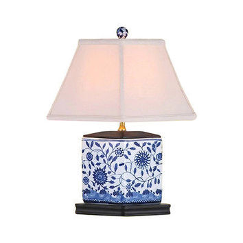 """Beautiful Blue and White Porcelain Diamond Shaped Table Lamp Floral 16.5"""""""