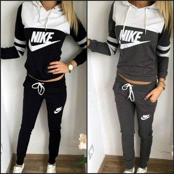 "Womens ""NIKE"" Print Hoodies Top Sweater Pants Sweatpants Set Two-Piece Sportswear"