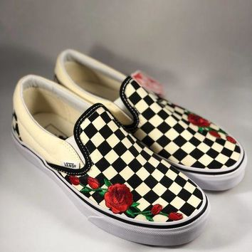 Vans Classics Checkerboard Fashion Unisex Slip-On Red Rose Embroidery Flat Sport Shoe Sneaker I