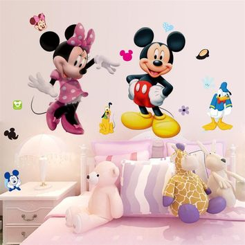 Mickey Mouse Wall Stickers Sticker Decorative Kids Boys Girls DIY Bedroom Wall Decor Decal Home Art Mural Wallpaper