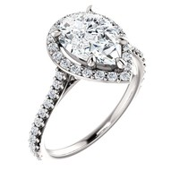 2.0 Ct Pear Diamond Engagement Ring 14k White Gold