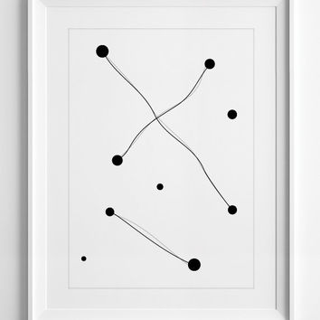 Printable Wall Art, dots, minimalist, black, white, art, wall decor, wall art, printable, ALL SIZES, A3