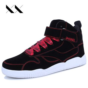 XX High Top Sneakers Men Casual Shoes Lace-up Leather Footwear Flat Canvas Ankle Boots Superstar Zapatillas Honbre Black Gold