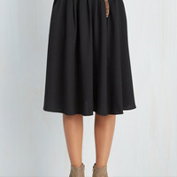 Vintage Inspired Long Midi Breathtaking Tiger Lilies Skirt in Black by ModCloth