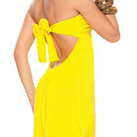 Yellow Backless Bowknot Bodycon Dress