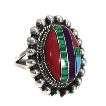 Southwestern Sterling Silver Inlaid Gemstone Ring Vintage Boho Style c1970s