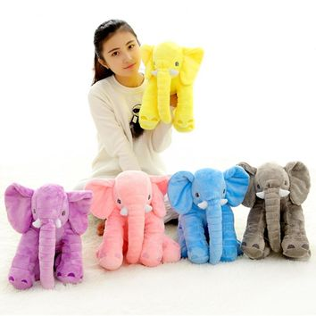 1pc 40cm Cute 5 Colors Plush Elephant Toy with Long Nose Stuffed Animal Pillow Soft Infant Appease Toy Baby Cushion Carm Doll