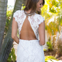 Lace Cut Out Back Prom Party Dress