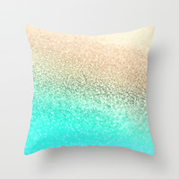 GATSBY AQUA GOLD Throw Pillow by Monika Strigel
