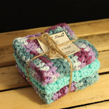 Purple Washcloth, Blue Dishcloth, Crochet Washcloth, Washcloth Set, Crochet Dishcloth, Cotton Washcloth, Cotton Dishcloth, Blue Cotton