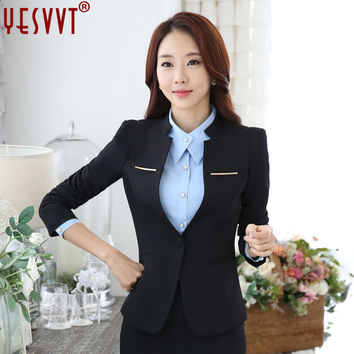 yesvvt Fall blazer with trousers female 2017 officer uniforms designs women business elegant grey pant suits largest for work