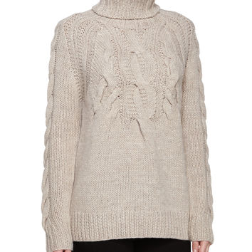 Cable Ribbed Turtleneck Sweater, Natural, Size: