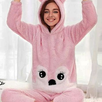 New Pink Cartoon Print 2-in-1 Hooded Cute Jumpsuit Pant