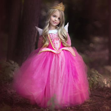 New Year Fairy Princess Sleeping Beauty Aurora Ball Gown For Girls Halloween Cosplay Costume Kids Party Wear Tulle Dress 22