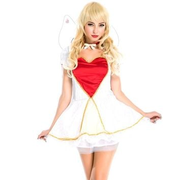 NEW Fantasia Halloween Sexy Women Butterfly Fairy Costume Short Sleeve Mini Dress Flower Fairy With Wing Angel Outfits A158655
