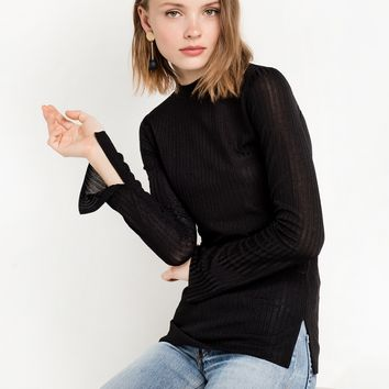 Black Skinny Ribbed Long Sleeve Top