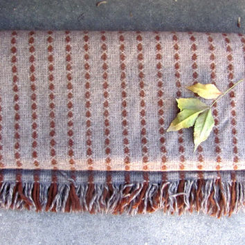 vintage small brown Wool Camp Blanket // Amana Woolen Mills camping lap blanket