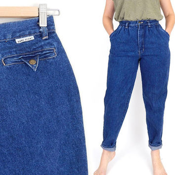 Vintage 80s Anne Klein High Waisted Pleated Mom Jeans - Size 6 / 8 - Women's Baggy High Rise Denim Trousers - 27 Waist