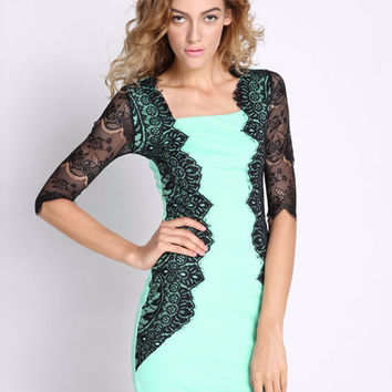 Green Half Sleeve Lace Applique Bodycon Mini Dress
