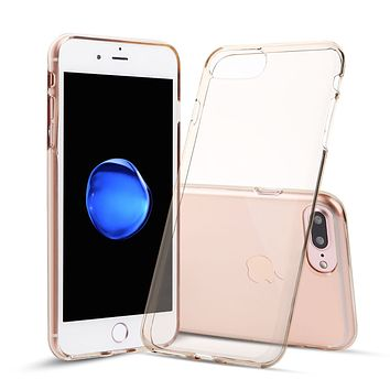 iPhone 7 Plus and iPhone 8 Plus Case TPU Rubber Transparent Silicone Shockproof Gold