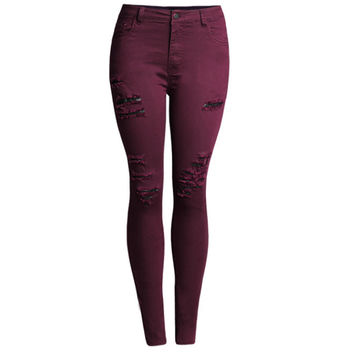 2016 Elastic Woman Jeans Denim Plus Size Skinny High Waisted Ripped Jeans for Women Jean Femme Red Wine Slim Pants Trousers 50