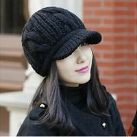 New Brand Korean Winter Warm Women Crochet Knit Ski Beanie Wool Peaked Hat Cap Fashion #SHOWNOW# = 1957993156