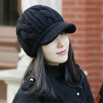 New Brand Korean Winter Warm Women Crochet Knit Ski Beanie Wool Peaked Hat Cap Fashion #mgsu = 1958083204
