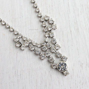 Vintage Clear Rhinestone Necklace -  Mid Century 1950s Silver Tone Bridal Costume Jewelry / Faux Diamond Dangle