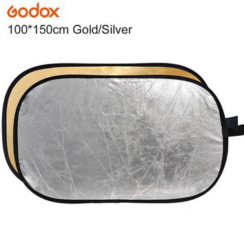 "Godox 2 in 1 100*150cm/40"" x 60"" Photography Gold Silver Light Mulit Collapsible Portable Photo Reflector for Studio Flash Lamp"
