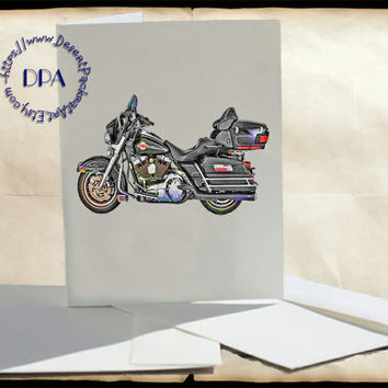Black 1995 Full Dresser Harley Motorcycle Altered Art - - 5 Cards & Envelopes, Printable Art on Matte Note Cards,Everyday and Special Cards