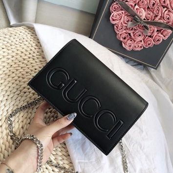 GUCCI Leather Metal Chain Crossbody Shoulder Bag