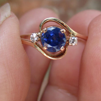 Antique Edwardian 1.04 tcw Kashmir Blue Sapphire & Old Cut Diamond Ring 14k Rose Gold Engagement Ring Alternative Promise Ring
