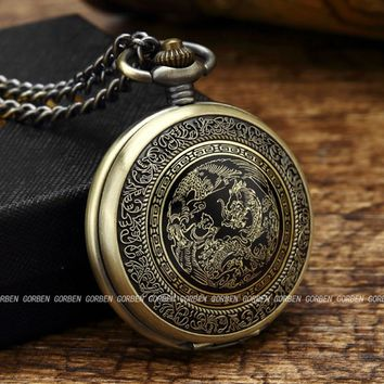 New GORBEN Watch Bronze Chinese Dragon Pocket Watch Antique Quartz Men's Pocket Watches Fob Chain Necklace Vintage Gifts Box