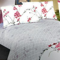 DaDa Bedding Floral Cherry Blossoms Red White Purple Fitted Sheet & Pillow Cases Set (FTS8318)