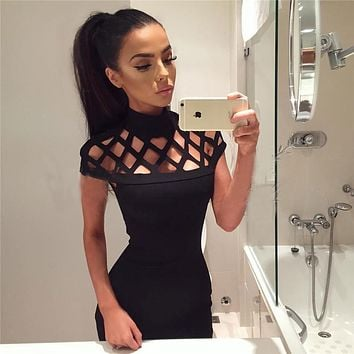 New Fashion Womens Hollow Out High Neck Dress Ladies Bodycon Slim Short Sleeve Evening Party Pencil Mini Dress