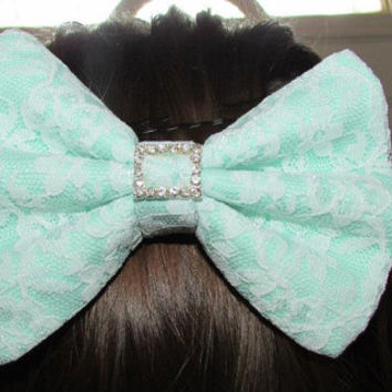 Mint Green Hair Bow with White Lace and Rhinestones Hair Clip Girl Teen Woman