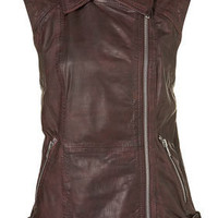 Leather Sleeveless Jacket - Jackets & Coats - Clothing - Topshop USA