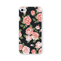 Coral Peach Floral iPhone Case - iPhone 4 Case - iPhone 4s Case - iPhone 5 Case - iPhone 5s Case - Chalkboard - Black - Valentine
