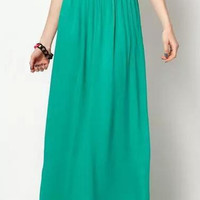 Plain Pleated Chiffon Maxi Skirt