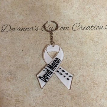 Lung Cancer Ribbon Acrylic Key Chain