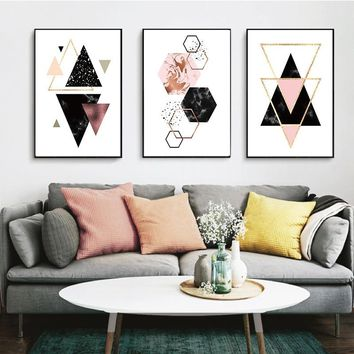 Canvas Painting Abstract Geometry Polygone Nordic Modern Home Decor Poster Print Wall Art Canvas Painting Living Room Decor