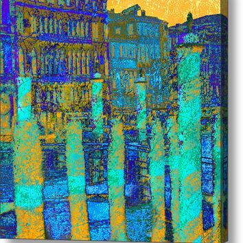 Venice Canal Sunset In Blue Canvas Print / Canvas Art By Suzanne Powers