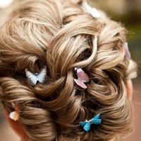 Butterfly Wedding Hair Clip Set 6pcs Prom Hair Accessories Butterfly Hair by SpotLightJewelry