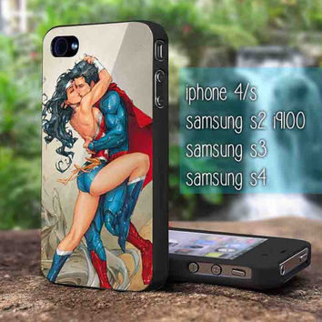 superman love wonder woman for iphone 4/4s case, iphone 5/5s/5c case, samsung s2 i9100,s3/s4 case cover