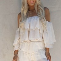 Morocco Ecru Ruffle Off Shoulder Two Piece Set