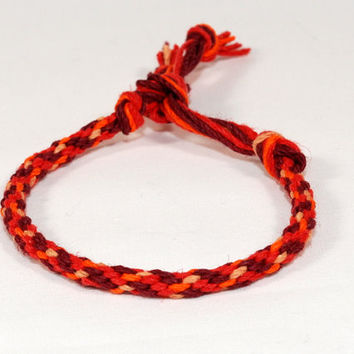 Autumn Hemp Eco Friendly Bracelet Kumihimo Samurai Red Orange Jewelry
