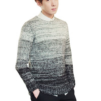 Gradient Knit Long Sleeve Pullover Sweater