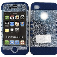 HYBRID IMPACT SILICONE CASE + NAVY BLUE SKIN FOR APPLE IPHONE 4 4S GLITTER CLEAR