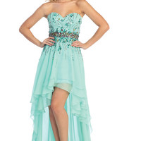 Beaded Chiffon High Low Prom Dress in Mint